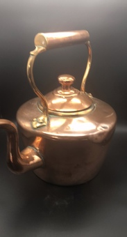 Antique 19th century copper and brass kettle.