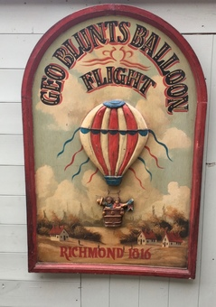 Antique  A hand painted diorama: Geo Blunts Balloon Flight Richmond 1816.