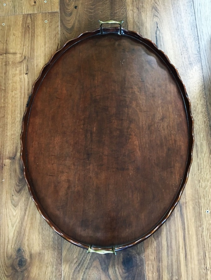 A large Edwardian mahogany galleried butlers tray.