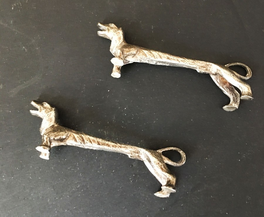 Antique  A pair of Elizabeth II hallmarked silver knife rests.