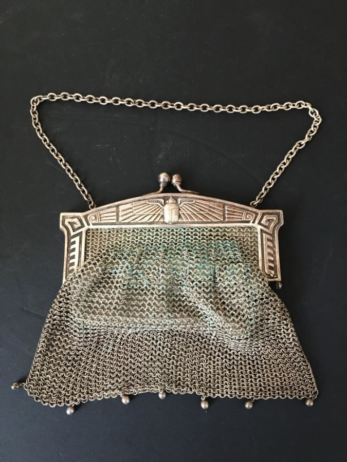 A circa 1900 German Secessionist white metal evening mesh purse.
