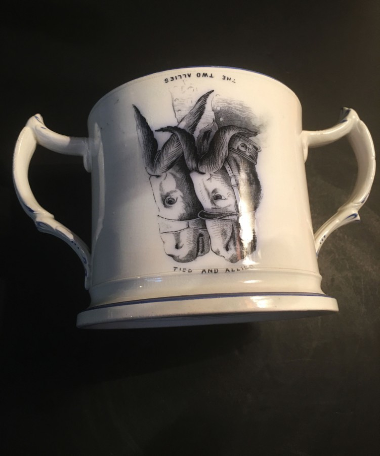 19th century Staffordshire Crimea war loving cup.