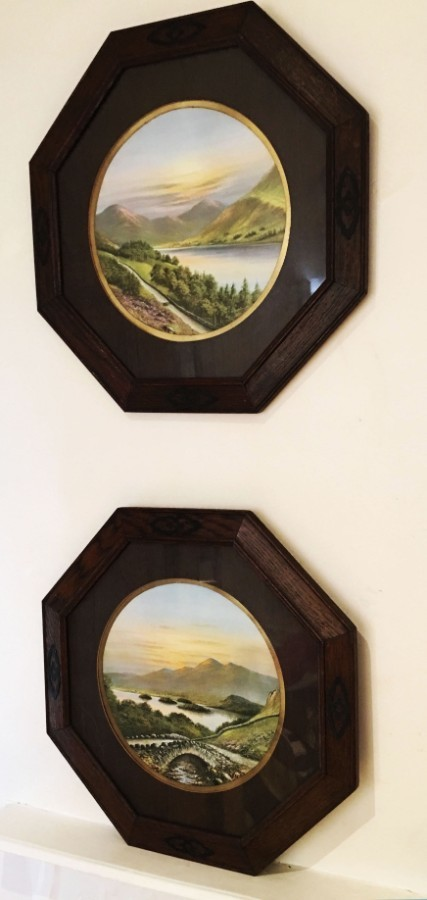 Two octagonal Art Deco Oak framed Lakeland prints.