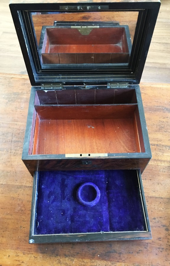 Victorian antique figured walnut dressing table box.