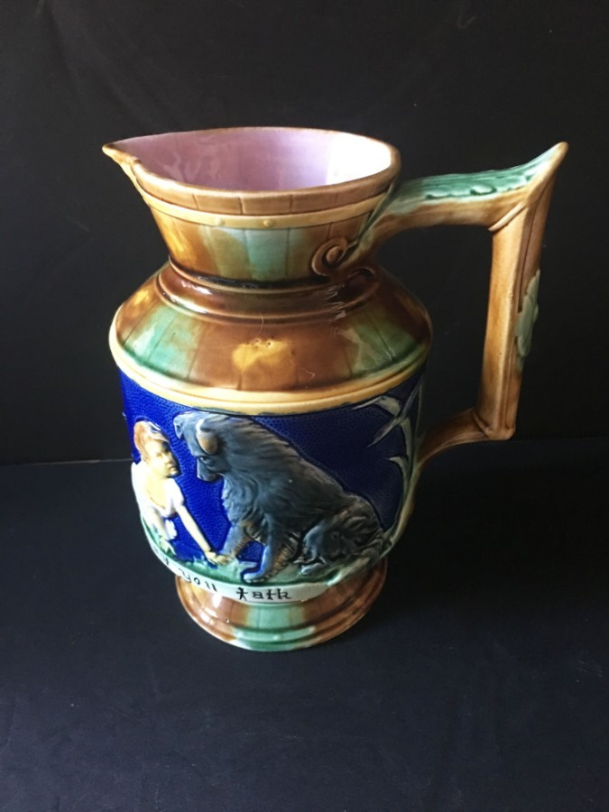 19th Century English antique majolica jug.