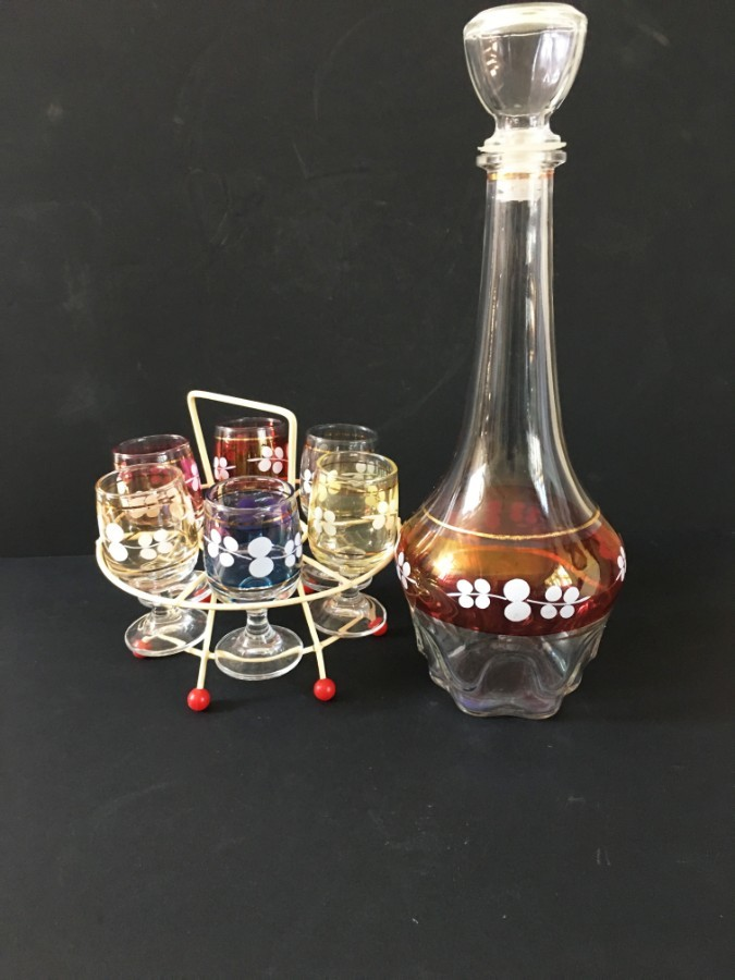 Retro decanter and glasses.