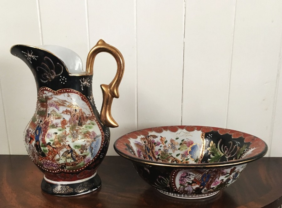Satsuma style jug and bowl.