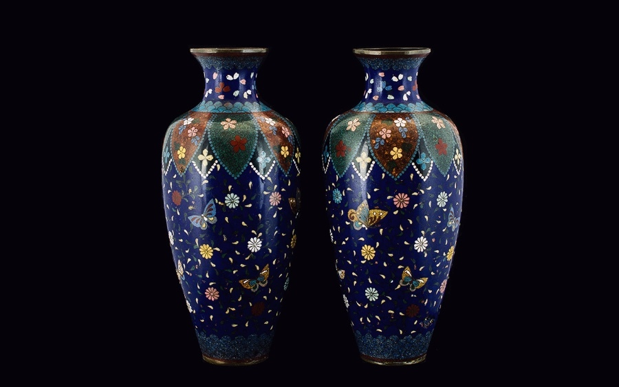 - Fine Quality Pair of 19th Century Ovoid Shaped Cloisonne Vases.