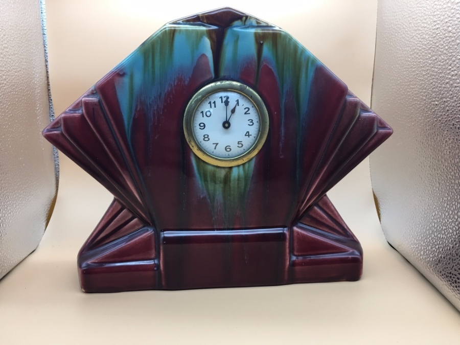 Antique  1930s Ansonia style fan shaped clock.