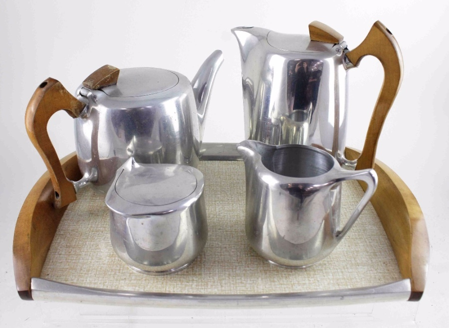 A four-piece Picquot ware alloy coffee and tea set.