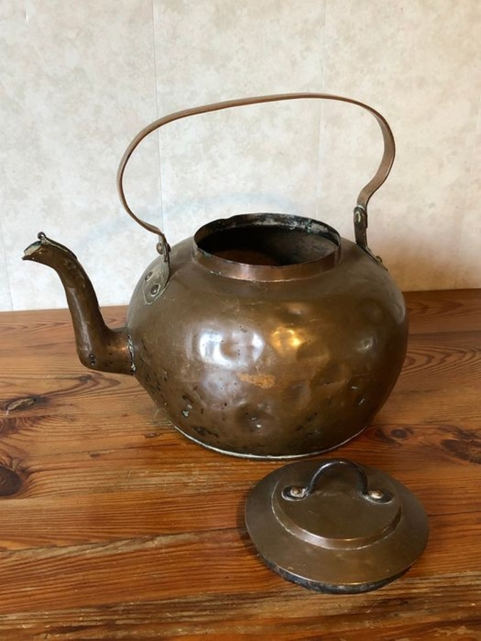 Antique A 19th century Dutch copper kettle.