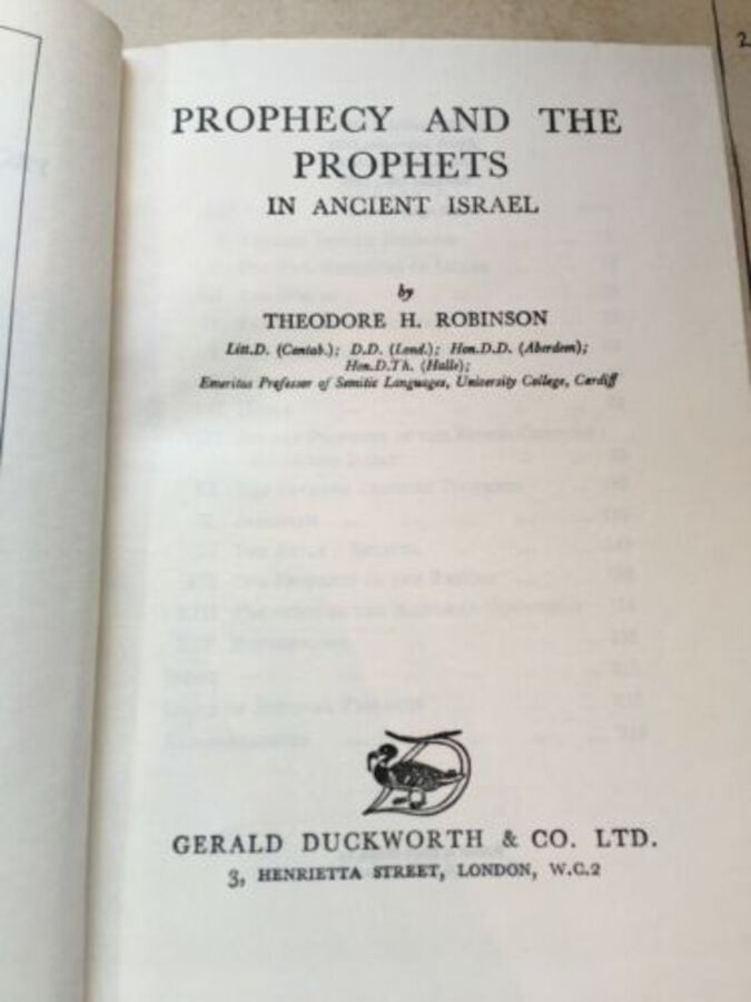 Antique 'Prophecy And The Prophets In Ancient Israel' By Theodore Robinson 2nd ed 1953