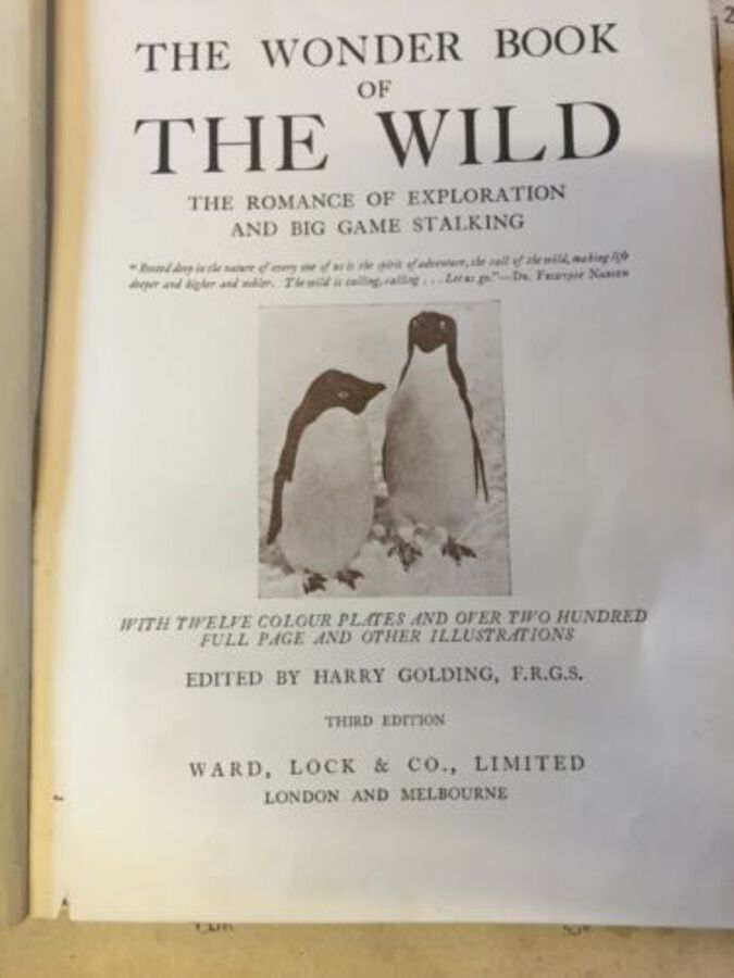 Antique Wonder Book Of The Wild Game Exploration London 20 Colour Plates