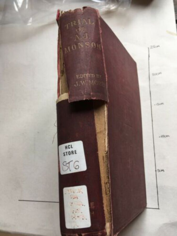Vintage Book 'Trial Of A. J. Monson Edited By J. W. More. 1908