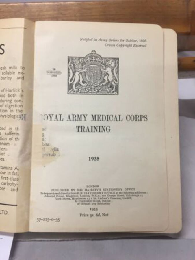 Antique Royal Aren't Medical Corps Training 1935 Book Red Leather Good Sought After