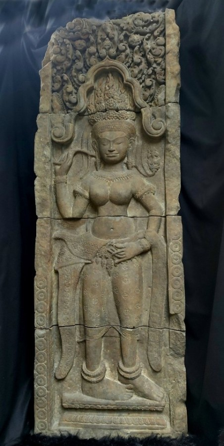 Ancient southeast asia stone absara relief
