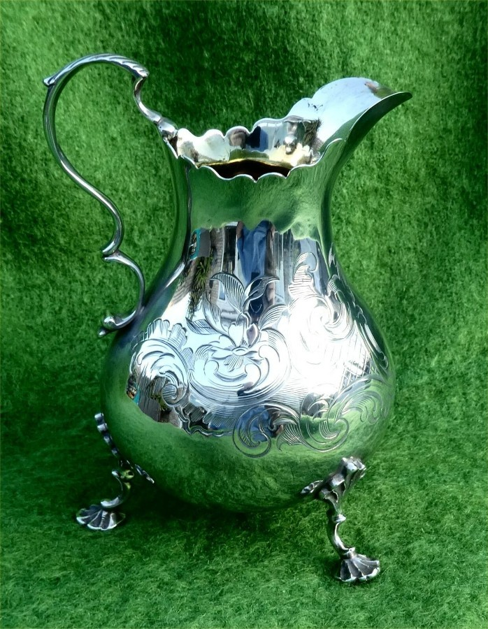 SOLID SILVER MILK/CREAM JUG BY DANIEL & CHARLES HOULE - LONDON 1856