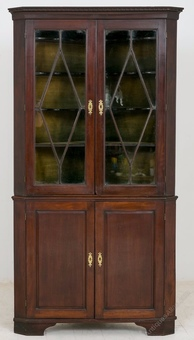 Antique George II mahogany glazed corner cabinet