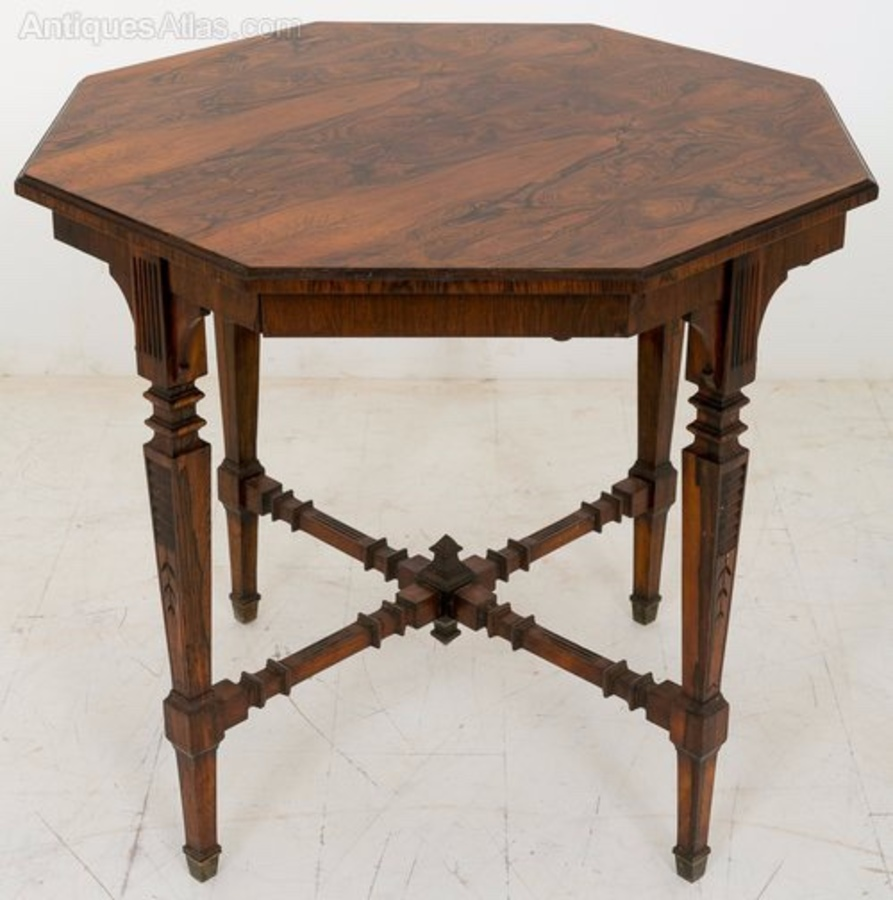 Late Victorian Rio rosewood octagonal occasional table