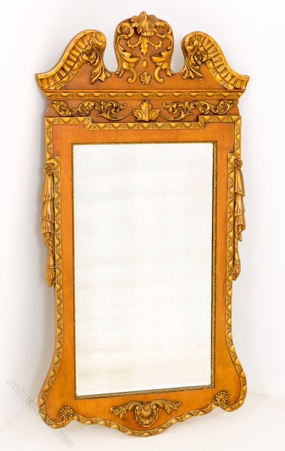 Stunning George 1 style Walnut and Gilt Hall Mirror