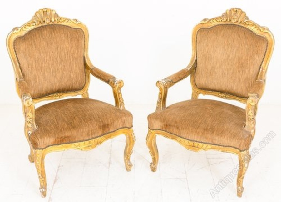 Pair of French Gilt Open Armchairs