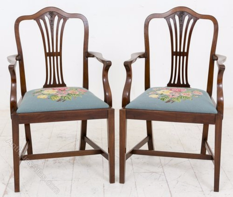 Pair of Hepplewhite style Carver chairs
