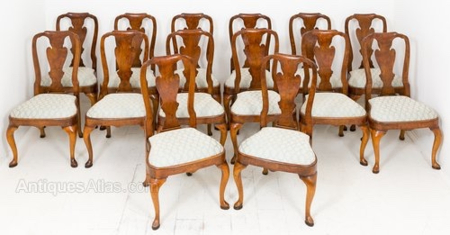 Set of 14 Queen Anne Style Dining Chairs
