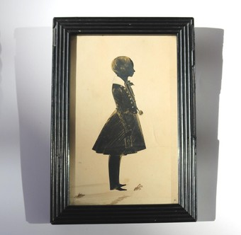 Antique Antique Silhouette : A large bronzed full portrait picture of a Child C.19thC