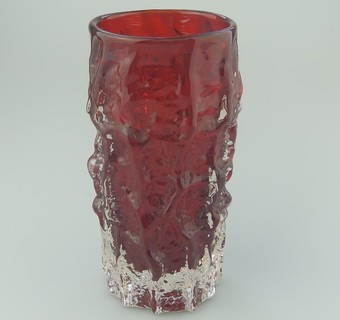 Antique Whitefriars Ruby Red ' Bark Texture' glass Vase - Geoffrey Baxter C.1950-60's