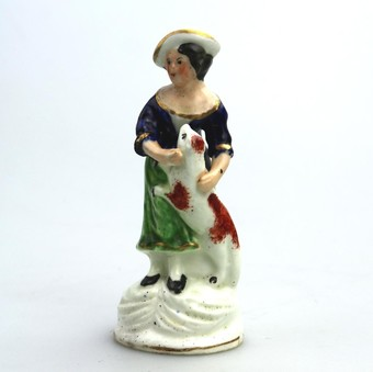 Antique Antique English Pottery Staffordshire Girl with dog C.19thC