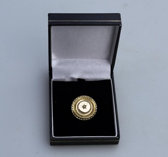 Antique Antique Jewellery Victorian Etruscan round brooch pearl set boxed 9ct gold C.19thC