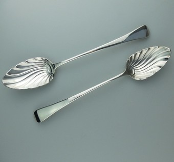 Antique Antique Solid Silver pair Georgian Stuffing Basting Spoons Stephen Adams C.1805