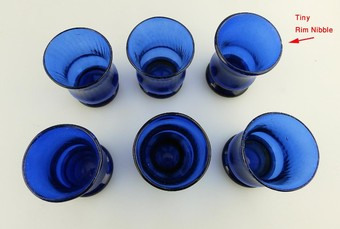 Antique Antique English coloured Glass 6X Bristol blue blown Rustic Tot Glasses C. early 20thC