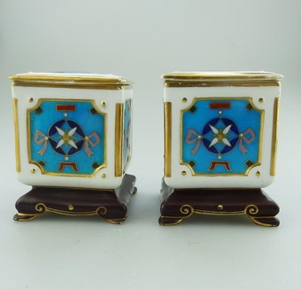 Antique Antique Minton Art Porcelain: an extremely rare pair of miniature Boxes by Christopher Dresser 19thC