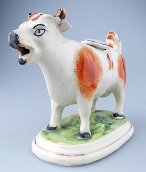 Antique Staffordshire Antique Pottery an attractive russet Cow Creamer - C.19thC