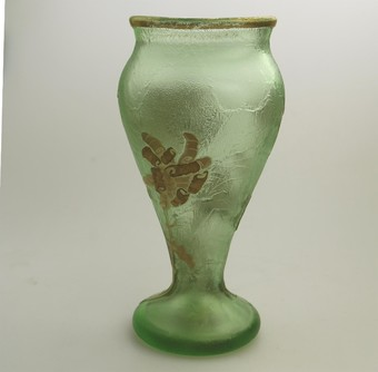 Antique French Art Glass a good Mont Joye Legras acid etched gilt Vase C.1890-1900