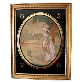 Antique Antique Silk Embroidery & Watercolour Pastoral Picture - very fine C.1790