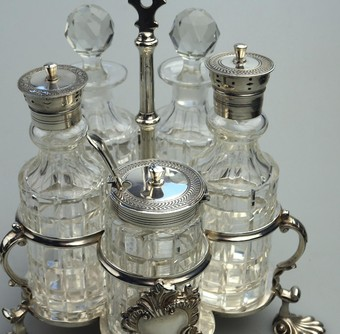 Antique Antique Silver Plate a fine Warwick type cut glass 5 bottle Cruet C.1863/64