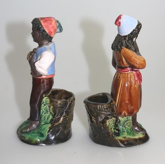 Antique Antique Majolica Pottery Pair Blackamoor Figural Strikers Bernard Bloch C.19thC