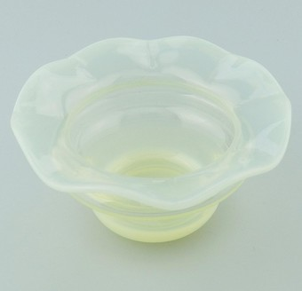 Antique Antique Art Glass : An attractive Vaseline Bowl / Salt late C.19th / early 20thC