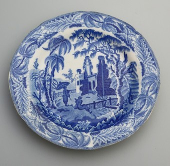 Antique Antique English Pottery Early Davenport Chinoiserie Ruins B&W Plate C.1800