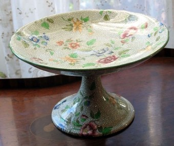 Antique Antique English Pottery Pedestal floral Comport by Cauldon C.19thC