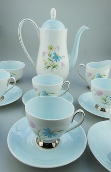 Antique Beautiful Queen Anne Linda pattern Coffee Set 15 pieces C.1940's