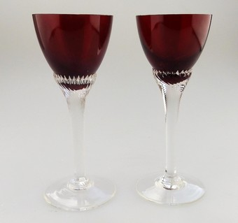 Antique Vintage Glass Pretty pair ruby Glasses C. early/mid 20thC
