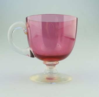 Antique A good Victorian antique English Cranberry coloured Glass Custard Cup C.19thC