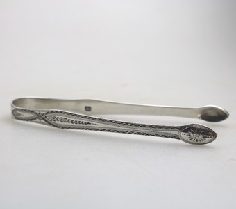 Antique Antique Solid Silver : Fine Hester Bateman bright cut engraved Georgian Sugar Tongs C.1780