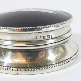 Antique Antique Solid Silver & tortoiseshell : Unusual Trinket Box with Liner Ship Tainui - Maritime Interest C.1925