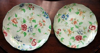 Antique Pottery a pair 2X of Victorian Royal Cauldron plates brightly decorated with flora C.19th...