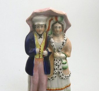 Antique Antique English Pottery good Staffordshire Courting Couple with parasol C.19thC