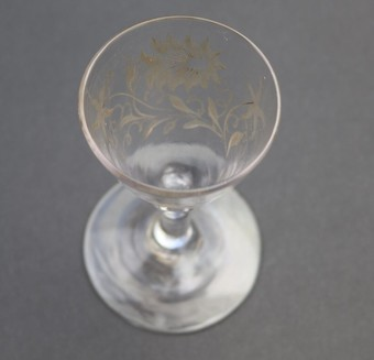 Antique Antique Georgian Stemware A Jacobite Rose & Flying Bird Wine Glass C.18thC